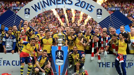 Arsenal celebrate following victory in the FA Cup Final at Wembley Stadium. Picture: PA/Nick Potts