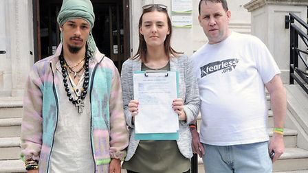 Pictured from left is activist Jay Kirton, Cherrie Smith, Danny O'Brien outside Islington town hall