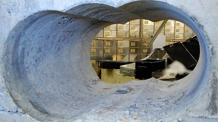 Busted concrete security wall at Hatton Garden after Easter weekend heist