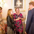 Prince Harry meets Flynne (second from left). Picture by Holly Clark