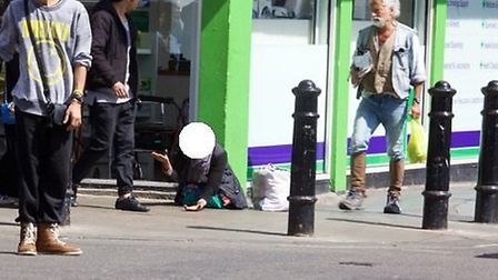 A Roma beggar in St John's Wood (Pic credit: Adam Thomas)