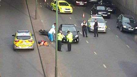 The motorcyclist was injured in a crash on the North Circular North yesterday evening