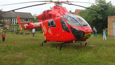 An air ambulance landed nearby in Press Road