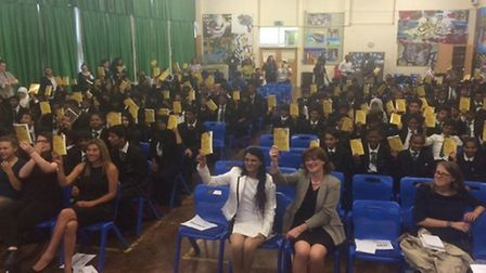 The students were each given a book and the Secretary of State led a special assembly