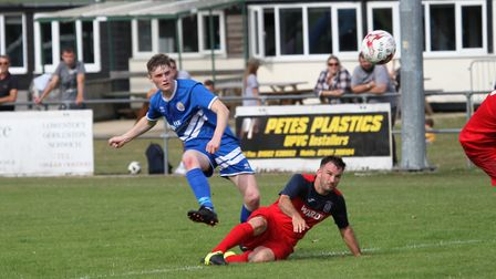 Action from Kirkley & Pakefield's 3-0 win over Hadleigh Picture: Bryan Grint