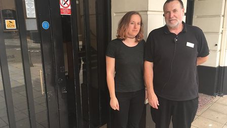 Marketing manager Miriam Hall and theatre operations manager Paul Bain outside the Marina Theatre af