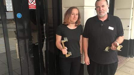 Marketing manager Miriam Hall and theatre operations manager Paul Bain outside the Marina Theatre wi