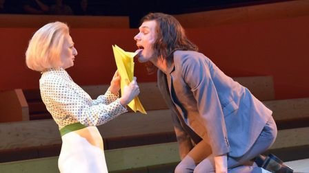 Sian Thomas (Mrs Grace) and Hugh Skinner (Block) in The Trial at the Young Vic. Picture: Keith Patti