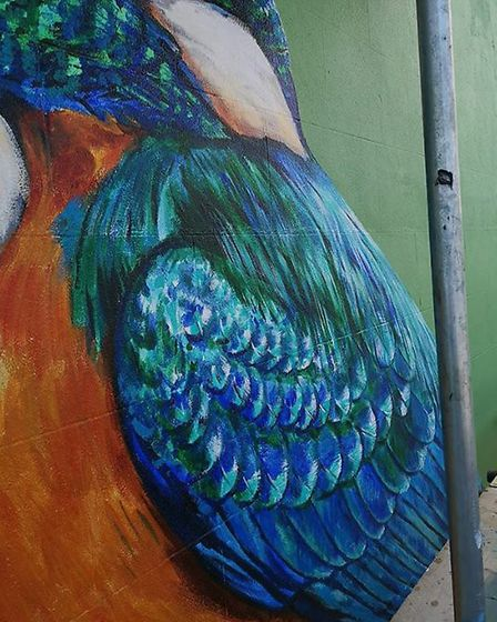 An up-close shot ATM took of the mural while painting. Photo: ATM street art