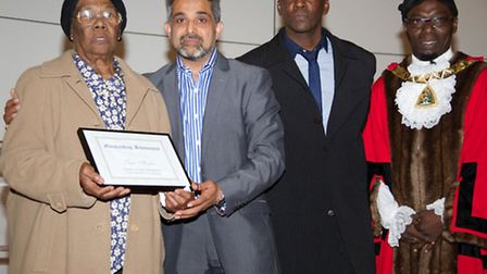 Left to right: Linette Hayes, Trevor Hutton's mother, Cllr Muhammed Butt, Brent Council leader, Rich