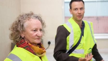 Baroness Jones discusses solar power take up with Robert Meeham of Skyline roofing (Pic: Adam Thomas