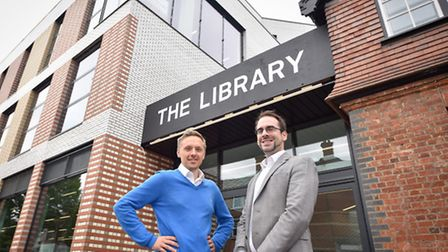 Councillors James Denselow and Michael Pavey outside Willesden Green Library (Pic credit: Brent Coun