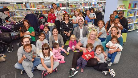 Cllr Michael Pavey with parents, guardians and toddlers at this mornings Story and Rhyme Time ses