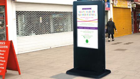 How the digital notice board will look in Kilburn High Road, advertising entertainment including the