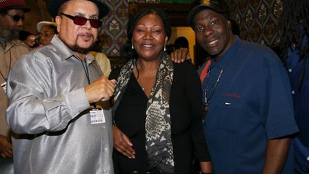 Singer and producer Dennis Alcapone, Liz Mitchell and singer Winston Reedy (Pic credit: Angela Blake