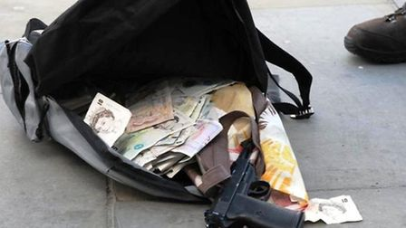 The rucksack containing £4,500, imitation gun and two knives