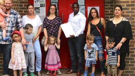 Parents and children took a petition to Camden Town Hall to save Sidings Community Centre pic credi