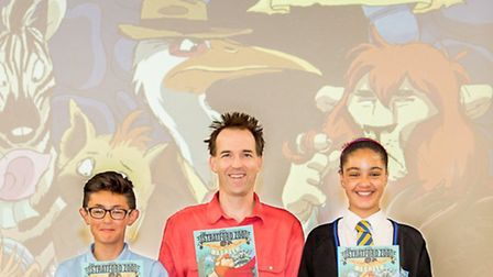 Graphic novelist Ian Lendler with Year 8 pupils from Kingsbury HIgh School Pic credit: Camille Sha