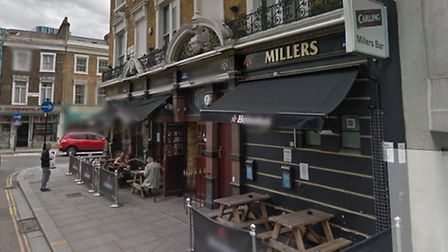 Football violence erupted when a mob of hooligans descended on dinrkers outside the Millers pub Pic: