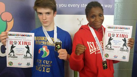 Islington Boxing Club's Callum Angel-Taylor (left) and Caroline Dubois won gold medals at the Monkst
