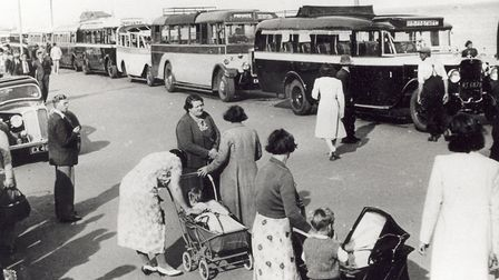 Buses await the Dagenham evacuees on The Esplanade in Lowestoft in September 1939. Picture: Courtesy