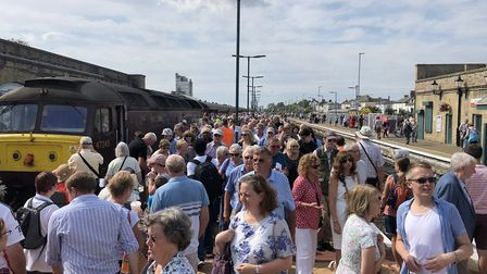 The arrival of the Mayflower tour at Lowestoft Station. Picture: Lowestoft Central