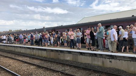 The crowds gathering at Lowestoft station to welcome the arrival of the Mayflower tour. Picture: Low