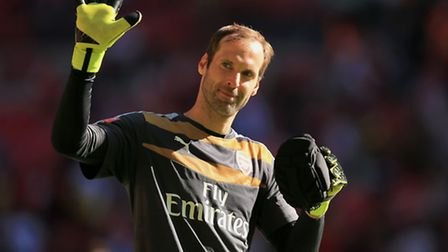 Arsenal's Petr Cech celebrates after the FA Community Shield. Picture: Mike Egerton