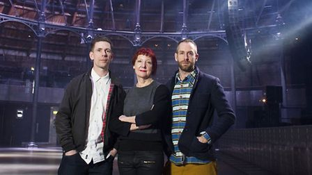 Steven Gallagher, Penny Woolcock and Gideon Berger at the Roundhouse. Picture: Helen Maybanks