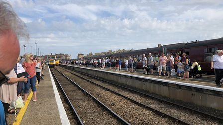 Crowds awaiting the Mayflower arrival at Lowestoft station. Picture: Lowestoft Central