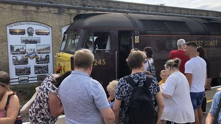 Families being given a tour of the Class 47 Loco Cab. Picture: Lowestoft Central