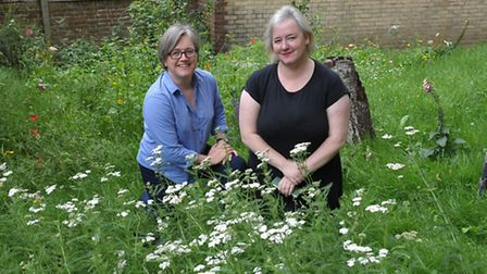 Cllr Caroline Russell with Vicky Wilson in her meadow