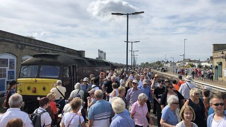 Arrival of the Mayflower tour at Lowestoft Station. Picture: Lowestoft Central