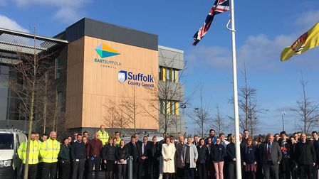 Staff stood outside of East Suffolk Council's offices on their opening day. Picture: Thomas Chapman