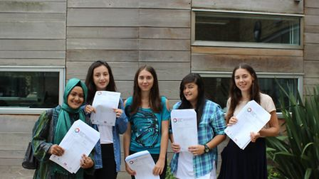 Celebrating their results, from left to right: Sumayyah Hasan, Michaela Zere, Grace Wright-Spinks, J