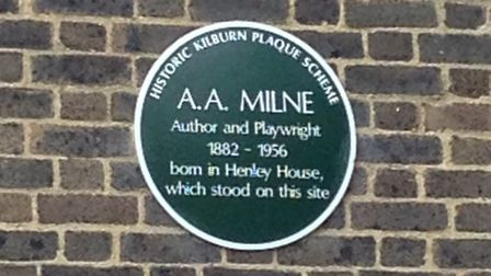 A plaque dedicated to A.A. Milne is on the estate
