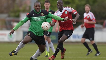Hendon's Aaron Morgan (left) scored the decisive penalty against Enfield Town but was then sent off.
