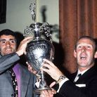 Arsenal captain Frank McLintock (left) and manager Bertie Mee with the League Championship trophy in