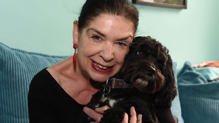 Jane Moloney with dog Charlie who went missing for two days after a robbery