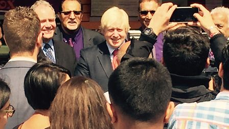 Boris Johnson was mobbed as he went to visit Egg Free Cakes on Streatfield Road