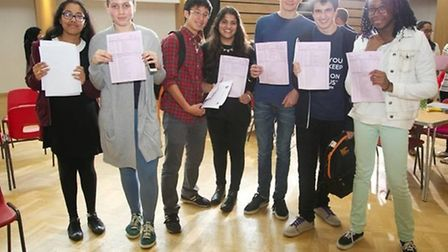 Students at Queen's Park Community School celebrated an oustanding clutch of GCSE results (Pic: Ange