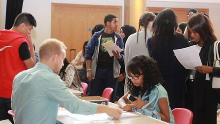 Students across Brent registered for sixth form courses after picking up their results yesterday (Pi