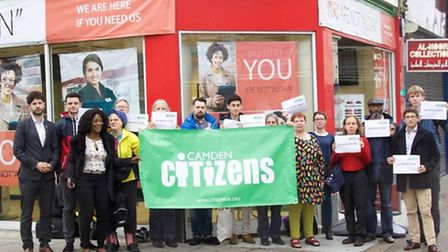 Campaigners outside the Kilburn branch of Speedy Cash