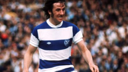 Stan Bowles in action for QPR against Liverpool in August 1975