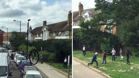 The robber, cricled on the left, abandons his motorbike and flees on foot through Roe Green park, ri
