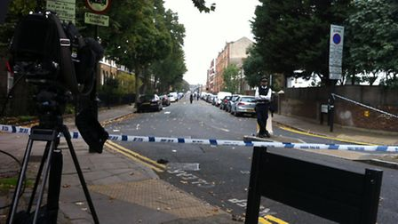 Shepperton Road was taped off by police following the shooting last year