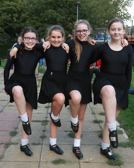 Dancers from the Aaron Crosbie Irish Dance academy put on a quick-footed display for the festival-go