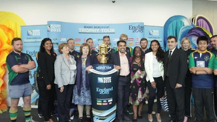 The Rugby World Cup trophy was the highlight at the launch of the Library at Willesden Green, opened