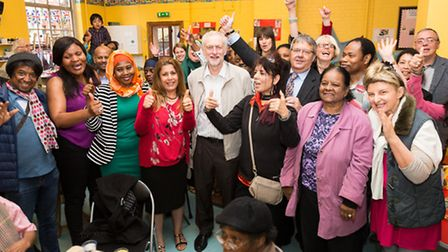 Jeremy Corbyn and CEO of Manor Gardens, Phillip Watson with volunteers at Manor Gardens Volunteering