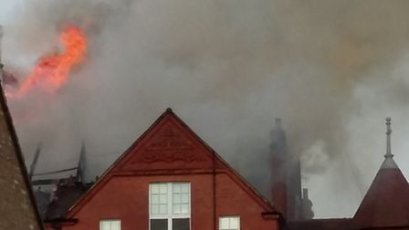 Fire rips through the roof of St Joseph's Primary School Pic credit: Iain Carver